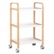 Estetiškas metalo ir medienos kosmetologinis vežimėlis