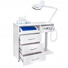 UNIT podologinis komplektas: vežimėlis + lempa + UV sanitizatorius + PODO freza
