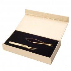 SOFI LASHES rinkinys pincetas ir žirklutės, auksinis