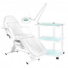 Kosmetologinis gultas 202 BASIC + kosmetologinis staliukas 1040 + lempa lupa LED S5
