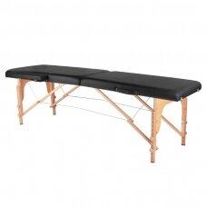 Sulankstomas masažo stalas WOOD COMFORT 2-iejų segmentų, juodas