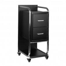 Grožio salono vežimėlis GABBIANO SOLO, juodas su sidabro rėmu