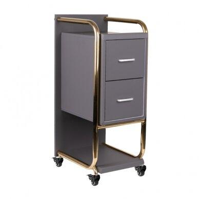 Grožio salono vežimėlis GABBIANO SOLO, pilkas su aukso rėmu