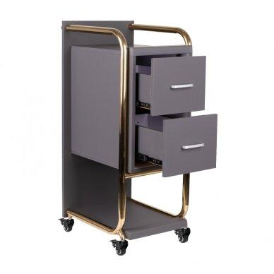 Grožio salono vežimėlis GABBIANO SOLO, pilkas su aukso rėmu 2