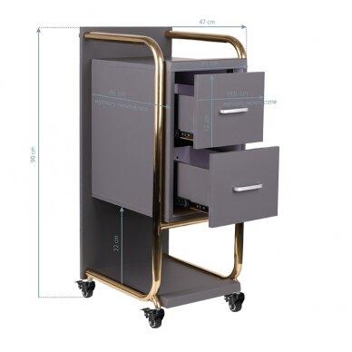 Grožio salono vežimėlis GABBIANO SOLO, pilkas su aukso rėmu 4