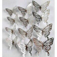 3D drugeliai lipdukai sienoms dekoruoti, SILVER