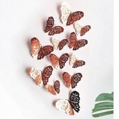 3D drugeliai lipdukai sienoms dekoruoti, A ROSE GOLD