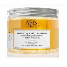 APIS RELAX HONEY BATH SALT atpalaiduojanti vonios druska su medumi ir ožkų pienu, 650 g.