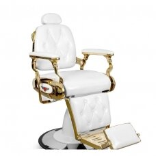 BARBER kirpyklos kėdė, balta su aukso detalėm