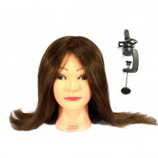 Galva mokymams, rudi naturalūs plaukai , 40 cm.