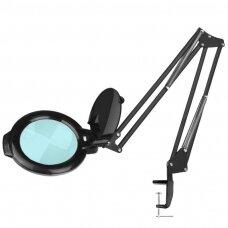 Juoda kosmetologinė LED lempa-lupa, tvirtinama prie stalo 812/5