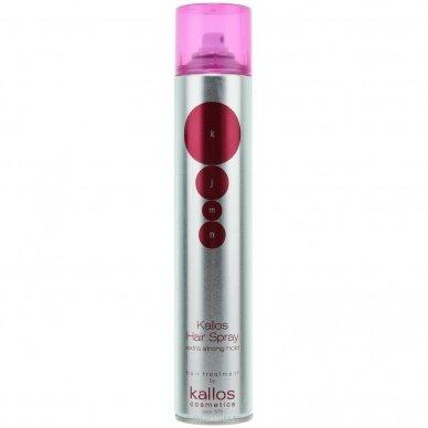 KALLOS Hair Spray EXTRA STRONG plaukų lakas su šilko proteinais, 750 ml