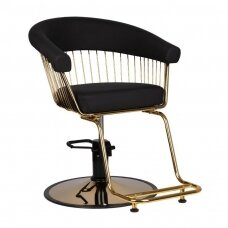 Profesionali kirpyklos kėdė GABBIANO LILLE, juodos spalvos su aukso detalėm