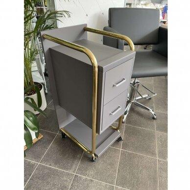 Grožio salono vežimėlis GABBIANO SOLO, pilkas su aukso rėmu 7
