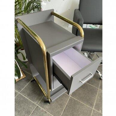 Grožio salono vežimėlis GABBIANO SOLO, pilkas su aukso rėmu 9
