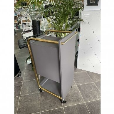 Grožio salono vežimėlis GABBIANO SOLO, pilkas su aukso rėmu 11
