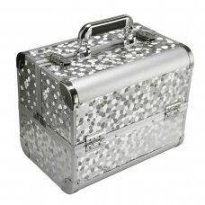 Kosmetikos lagaminas, sidabrinės spalvos