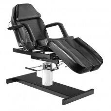 Kosmetologinė hidraulinė lova juoda su reguliuojamu sedynės kampu