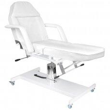Kosmetologinė hidraulinė lova su ratukais, balta