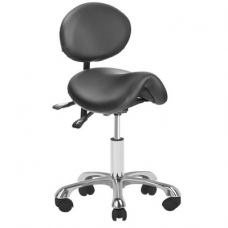 Kosmetologinė meistro kėdutė 1025 GIOVANNI balno tipo, su reguliuojamu sėdynės kampu bei atlošu, juoda