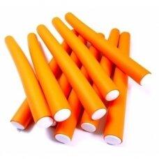 Lankstūs suktukai plaukams 20 mm oranžiniai, 10 vnt.