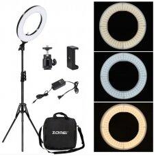 LED makiažo lempa, 35 cm su šviesos reguliavimu ir telefono laikikliu + stovas + krepšys ITIN PLONA