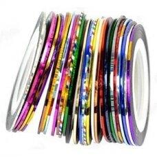 Lipnios juostelės nagų dekoravimui įvairių spalvų miksas, 3 vnt.