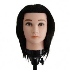Manekeno galva su 100% natūraliais juodais plaukais, ilgis 38 cm