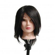 Manekeno galva su 100% natūraliais juodais plaukais, ilgis 40 cm
