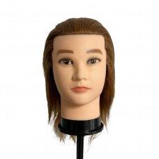 Manekeno galva su 100% natūraliais rudais plaukais, ilgis 38 cm