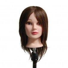 Manekeno galva su 100% natūraliais rudais plaukais, ilgis 40 cm
