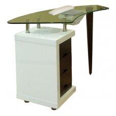 Manikiūro staliukas BIS stikliniu paviršiumi ir įmontuotu dulkių ištraukėju