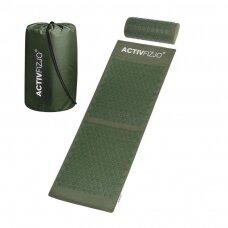 Masažininis akupresuros kilimėlis su pagalvėle, tamsiai žalias