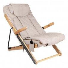 SAKURA sulankstomas fotelis RELAX su masažo funkcija, bežo spalvos