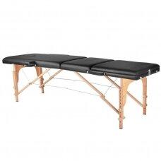 Masažo stalas WOOD KOMFORT 3-jų segmentų, juodas