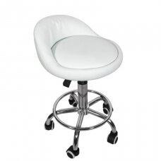 Meistro kėdutė su ratukais, pieno spalvos