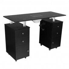 Profesionalus manikiūro stalas GLASS 317 stikliniu paviršiumi ir dulkių ištraukėju, juodos spalvos