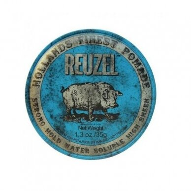 Reuzel Blue Strong Hold High Sheen Pomade stiprios fiksacijos plaukų pomada, 35g.