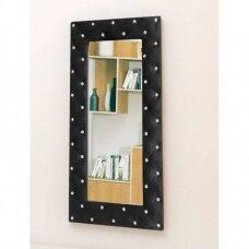 Salono veidrodis su kristaliukais, juodas