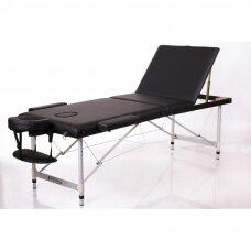 Sulankstomas masažo stalas ALU 3, juodas