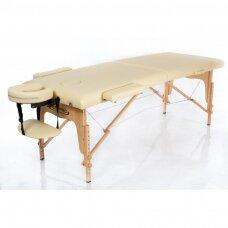 Sulankstomas masažo stalas, smėlio spalvos