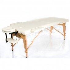 Sulankstomas masažo stalas, kreminis