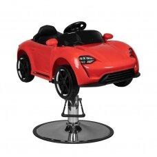 Vaikiška kirpyklos kėdė-automobiliukas PORSHE, raudonos spalvos