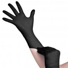 Vienkartinės nitrilo pirštinės, be pudros, juodos spalvos (S)
