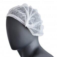 Vienkartinės pagamintos iš neaustinės medžiagos kepuraitės, pakuotėje 100 vnt.